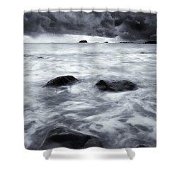 Turbulent Seas Shower Curtain by Mike  Dawson