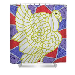 Turkey On Stained Glass Shower Curtain by Pat Scott