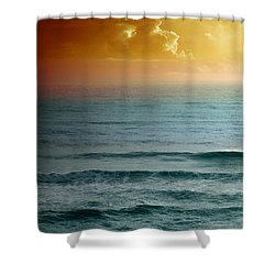 Turquoise Amber Sunrise Shower Curtain by Maria Eames