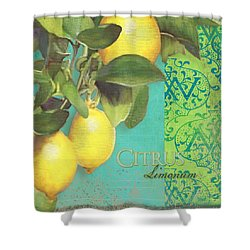 Tuscan Lemon Tree - Citrus Limonum Damask Shower Curtain by Audrey Jeanne Roberts