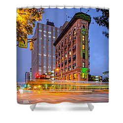 Twilight Photograph Of The Flatiron Building In Downtown Fort Worth - Texas Shower Curtain by Silvio Ligutti
