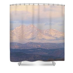 Twin Peaks Meeker And Longs Peak Panorama Color Image Shower Curtain by James BO  Insogna