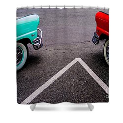 Shower Curtain featuring the photograph Two 1958 Ford Crown Victorias by M G Whittingham