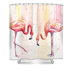 Two Flamingos Watercolor Shower Curtain by Olga Shvartsur