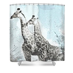 Two Giraffes- Art By Linda Woods Shower Curtain by Linda Woods