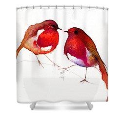 Two Little Birds Shower Curtain by Nancy Moniz