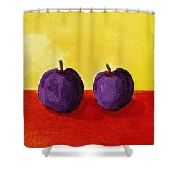 Two Plums Shower Curtain by Michelle Calkins
