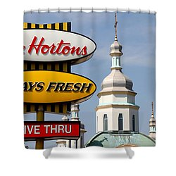 Two Religions Shower Curtain by Andrew Fare