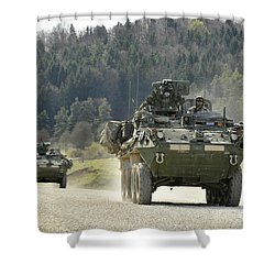 Two Stryker Vehicles At The Hohenfels Shower Curtain by Stocktrek Images