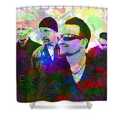 U2 Band Portrait Paint Splatters Pop Art Shower Curtain by Design Turnpike