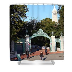 Uc Berkeley . Sproul Plaza . Sather Gate And Sather Tower Campanile . 7d10025 Shower Curtain by Wingsdomain Art and Photography