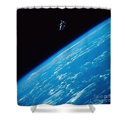 Unattached Space Walk Shower Curtain by Stocktrek Images