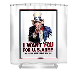Uncle Sam -- I Want You Shower Curtain by War Is Hell Store