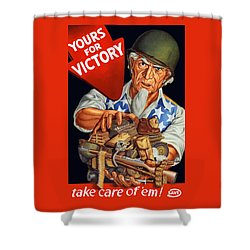 Uncle Sam - Yours For Victory Shower Curtain by War Is Hell Store