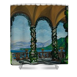 Under The Arches At Villa Balvianella Shower Curtain by Charlotte Blanchard