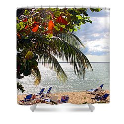 Under The Palms In Puerto Rico Shower Curtain by Madeline Ellis