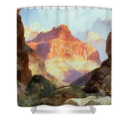 Under The Red Wall Shower Curtain by Thomas Moran