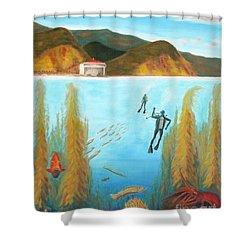 Underwater Catalina Shower Curtain by Nicolas Nomicos