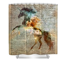 Unicorn Carina Nebula Shower Curtain by Jacob Kuch