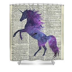 Unicorn In Space Shower Curtain by Jacob Kuch