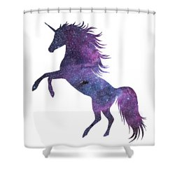 Unicorn In Space-transparent Background Shower Curtain by Jacob Kuch