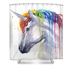 Unicorn Rainbow Watercolor Shower Curtain by Olga Shvartsur