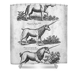 Unicorns 03 Historiae Naturalis 1657 Shower Curtain by Aged Pixel