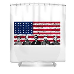 Union Heroes And The American Flag Shower Curtain by War Is Hell Store