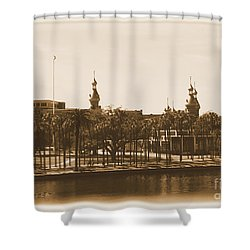 University Of Tampa - Old Postcard Framing Shower Curtain by Carol Groenen