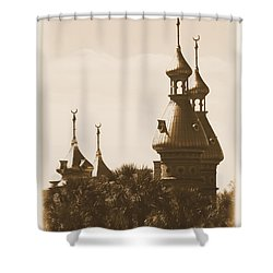 University Of Tampa Minarets With Old Postcard Framing Shower Curtain by Carol Groenen