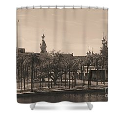 University Of Tampa With Old World Framing Shower Curtain by Carol Groenen