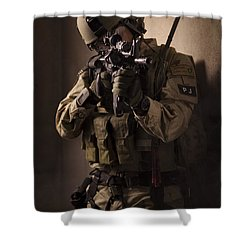 U.s. Air Force Csar Parajumper Armed Shower Curtain by Tom Weber