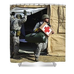 U.s. Air Force Soldier Exits A Medical Shower Curtain by Stocktrek Images