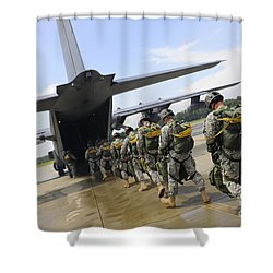 U.s. Army Rangers Board A U.s. Air Shower Curtain by Stocktrek Images