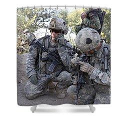 U.s. Army Soldier Radios In His Teams Shower Curtain by Stocktrek Images