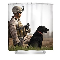 U.s. Marine Holds Security In A Field Shower Curtain by Stocktrek Images