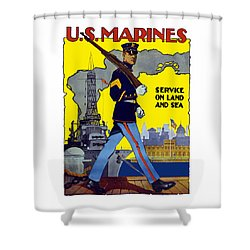 U.s. Marines - Service On Land And Sea Shower Curtain by War Is Hell Store