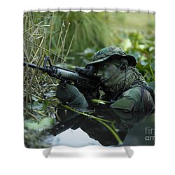 U.s. Navy Seal Crosses Through A Stream Shower Curtain by Tom Weber