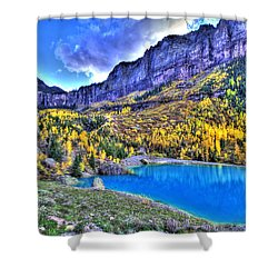 Valley Peak And Falls Shower Curtain by Scott Mahon