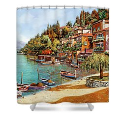 Varenna On Lake Como Shower Curtain by Guido Borelli