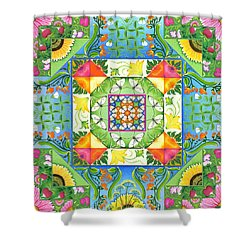 Vegetable Patchwork Shower Curtain by Isobel  Brook Haslam