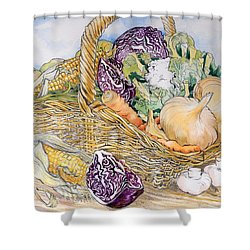 Vegetables In A Basket Shower Curtain by Joan Thewsey