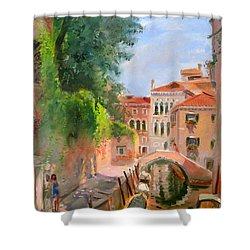 Venice Ponte Moro Shower Curtain by Ylli Haruni