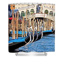 Venice Sunny Rialto Bridge Shower Curtain by Heiko Koehrer-Wagner