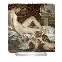 Venus And Cupid Shower Curtain by Lambert Sustris