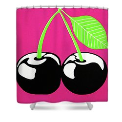 Very Cherry Shower Curtain by Oliver Johnston