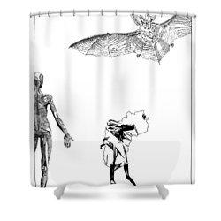 Vesalius Bat Thing Shower Curtain by Stan  Magnan