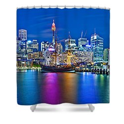 Vibrant Darling Harbour Shower Curtain by Az Jackson
