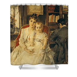 Victorian Family Scene Shower Curtain by Alfred Emile Stevens