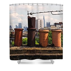 Victorian London Chimney Pots Shower Curtain by Rona Black